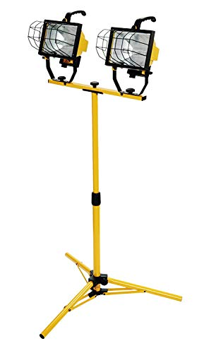 Woods L13 Twin Head Work Light, Adjustable Tripod Up To 42 Inches Tall, 16,000 Lumen, 4-Foot 18/3 Cord, Cord Storage Bracket, Weather Proof Power Switch Per Lamp For Individual Control (Includes 2 500-watt Quartz Halogen Bulbs)