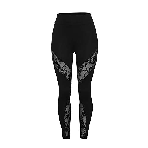 (POQOQ Pants Women's New Lace Stitching Leggings Casual Sports Yoga Pencil M Black)