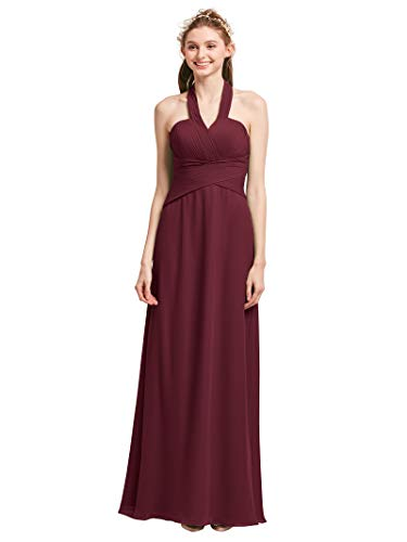 (AW Cross Strap Bridesmaid Dress Cocktail Evening Party Dress Long Prom Gowns for Women, Burgundy, US12)