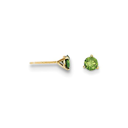 14k .75ct. Green Diamond Stud Earrings, 14 kt Yellow (0.375 Ct Round Diamond)