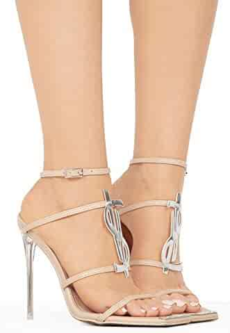 751fe0b4d Michelle Parker Shoes Cape Robbin Ambition with Transparent Stiletto Heel  Strappy Vamp - Nude