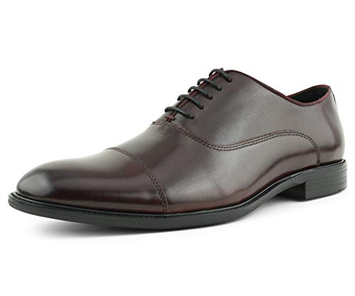 (Asher Green Mens Genuine Waxy Calf Leather Lace Up Cap Toe Oxford Dress Shoe, Style AG500 Wide FEET Should Size 1/2 A Size UP Burgundy)
