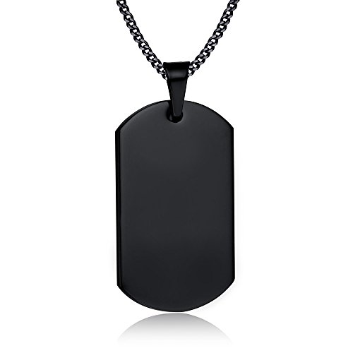 VNOX Personalized Custom Stainless Steel Dog Tag Military Army Pendant Necklace for Men Women,Black,Horizontal -