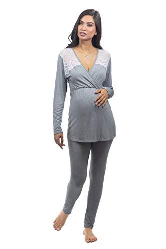 Pijama maternidade manga longa legging