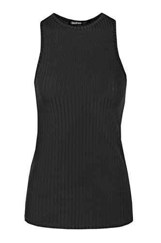 Boohoo Womens Mary Ribbed Cut Away Vest in Black size 6