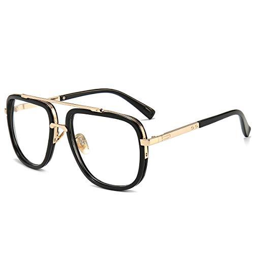 Oversized Square Glasses for Men Women Aviator Shades Gold Frame Retro Brand Designer Transparent Lens (Kinder Designer Glasses Frames)