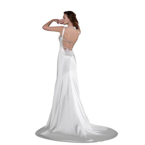 zurueck Exquisite Ausschnitt Abendkleid GEORGE ausgestattet Satin Zug herzfoermiger Elfenbein Gericht BRIDE Strap geoeffnetes XX5Pq0