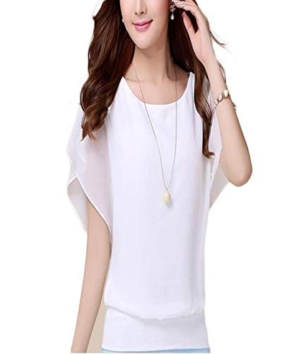 Thx Style Women's Loose Casual Short Sleeve Chiffon Top T-Shirt Blouse Scoop Neck (l, White) Sportswear Knit Colored toponline Ladys Suit Elegant Sweaters toos Aqua Tight Printed Style ()