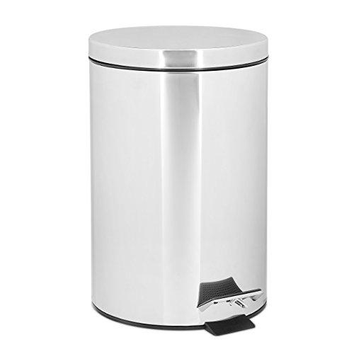 Relaxdays Treteimer 7 L aus Edelstahl H x D: 31,5 x 21 cm Abfalleimer in Metall-Optik als Abfallbehälter leise schließender Tretmülleimer für Küche und als Kosmetikeimer im Bad Tretmülleimer, silber