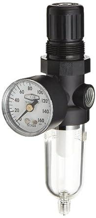 "Dixon B07-202MG Norgren Series Manual Drain Miniature Filter/Regulator with Transparent Bowl, 21 SCFM, 1/4"" Port Size, 150 PSI"