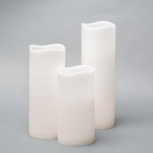Richland Large LED Pillar Candles with Wavy Top (36, 4'' Set)