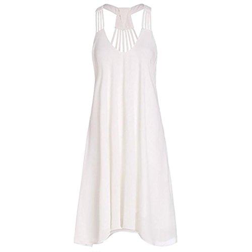 Abiti Vestito Vestito Donne Donna Estate da Maniche Senza Vacanze Cerimonia Donna Vestiti Vestiti Spiaggia Partito Bianco Abito Wanshop Donna 1x4dqwY1