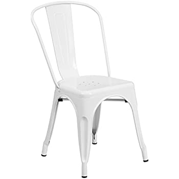 Superb Flash Furniture White Metal Indoor Outdoor Stackable Chair