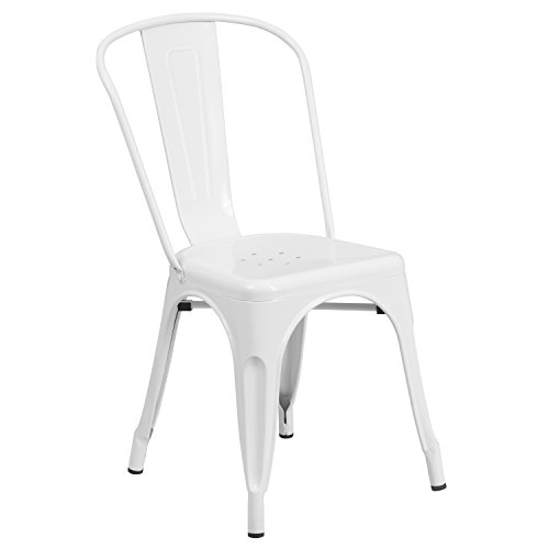 (Flash Furniture Metal Chair, White)