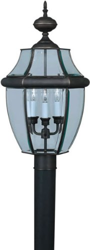 Forte Lighting 1604-03-14 Traditional 3-Light Exterior Post Lantern with Clear Beveled Glass, Royal Bronze Finish