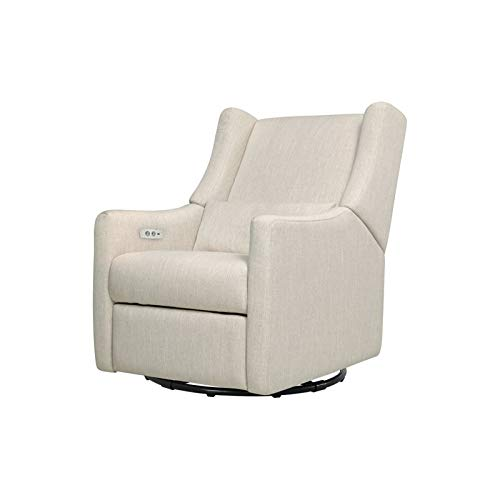 Babyletto Kiwi Glider Recliner with Electronic/USB Control, White Linen