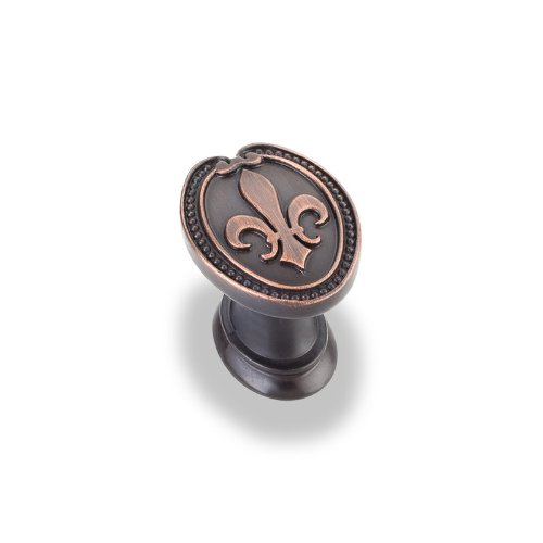 Jeffrey Alexander 959-DBAC Bienville Collection Fleur-De-Lis Beaded Trim Cabinet Knob 1-5/16 Inch, Dark Brushed Antique Copper