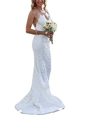 Meledy Women's V-Neck Spaghetti Lace Court Trains Mermaid Beach Wedding Dresses