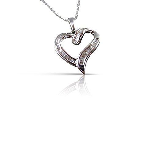 Milano Jewelers .90CT DIAMOND 14KT WHITE GOLD CLASSIC OPEN HEART FLOATING PENDANT #17303