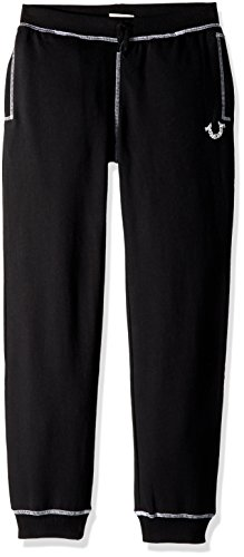 True Religion Big Boys' French Terry Sweatpant, Shoestring Black, M