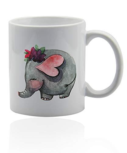 Elephant coffee mug 11 oz. white ceramic cup. Elephant tea mug gift. (Mug Tea Ceramic Elephant)