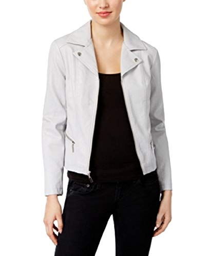 (Alfani Petite Faux-Leather Moto Jacket (New City Silver, PS) )