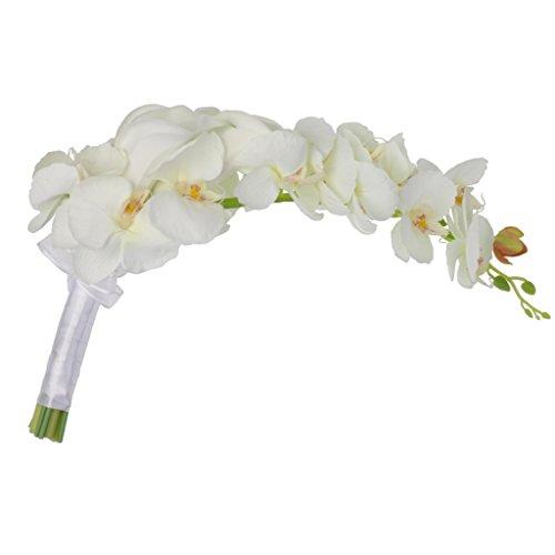 Elegant Cascade Waterfall Bouquet Wedding Bridal Artificial Silk Flower Calla Lily Orchids Hand Tied Flower Decoration