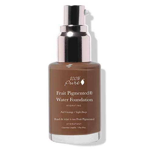 100% PURE Water Foundation (Fruit Pigmented), Neutral 5.0, Full Coverage, Semi-Dewy Finish, For Normal, Dry Skin (Neutral w/Red Undertones for Deep Skin) - 1 Fl Oz