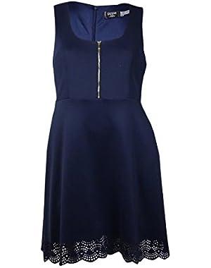 Guess Women's Perforated Sleeveless Scuba A-Line Dress