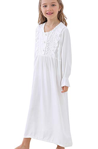 Kids Girls Cute Princess Lace Nightgowns Long Sleeve Sleep Dress Toddler 3-12 Years Off White