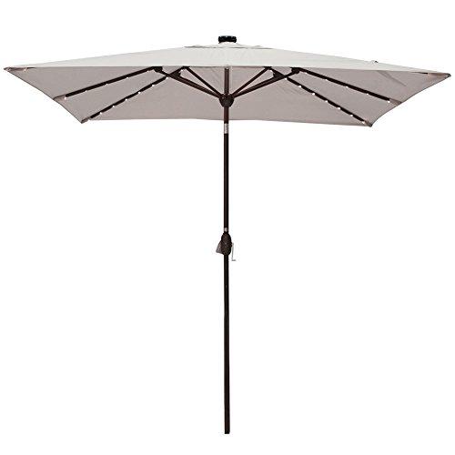 Solar Powered Rectangular Patio Umbrella with 68 LED Lights Market Outdoor Umbrella with Tilt Crank Umbrella Cover, 9 by 7 Feet, Beige