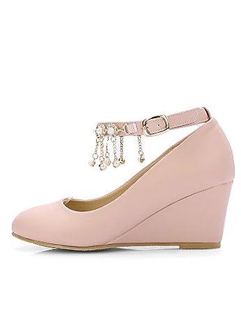 ZQ Zapatos de mujer-Tac¨®n Cu?a-Tacones / Punta Redonda-Tacones-Vestido-Semicuero-Negro / Rosa / Beige , pink-us6 / eu36 / uk4 / cn36 , pink-us6 / eu36 / uk4 / cn36