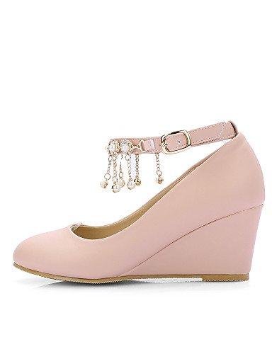 semicuero vestido Mujer 5 Pink Beige tacones De Redonda Zq Cn43 Zapatos tacones 5 tac¨®n 5 negro Cu us10 Uk8 Punta Eu42 Rosa us10 Beige a wqPTnEvT