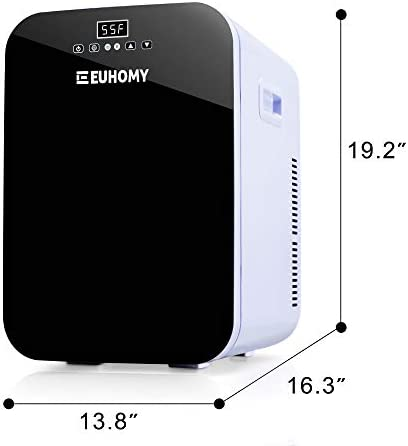 Euhomy Mini refrigerator for bed room, 20L Portable refrigerator & Electric Cooler and Warmer, Car refrigerator with AC/DC, Small refrigerator for room, place of business, dorm. Mini refrigerator for skincare and cosmetics.(Black)