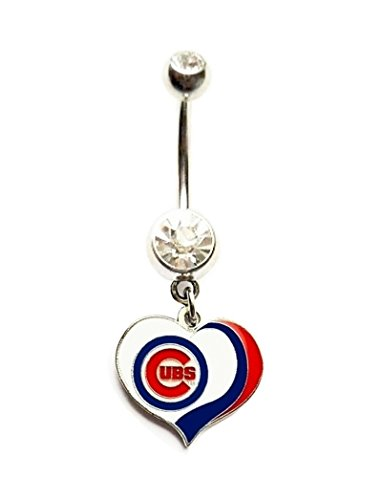 CHICAGO CUBS BASEBALL TEAM HEART Clear Navel Belly Button Ring Body Jewelry Piercing 14 Gauge