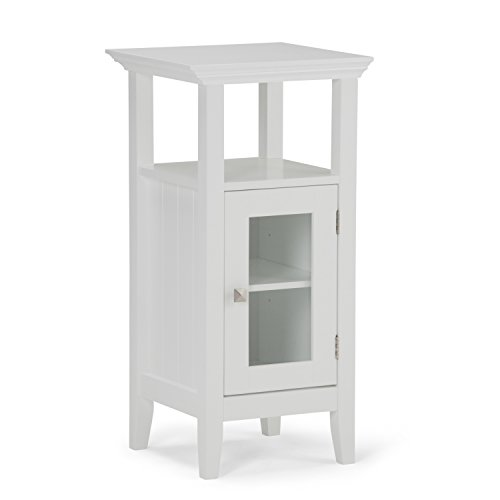 Simpli Home Acadian Floor Storage Cabinet, White