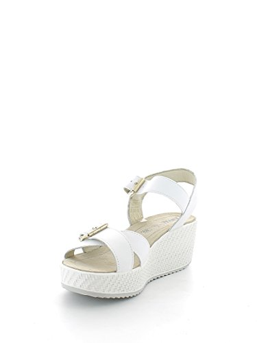 ENVAL 59833 sandalias blancas de cuero suave correa de la mujer mesetas Bianco