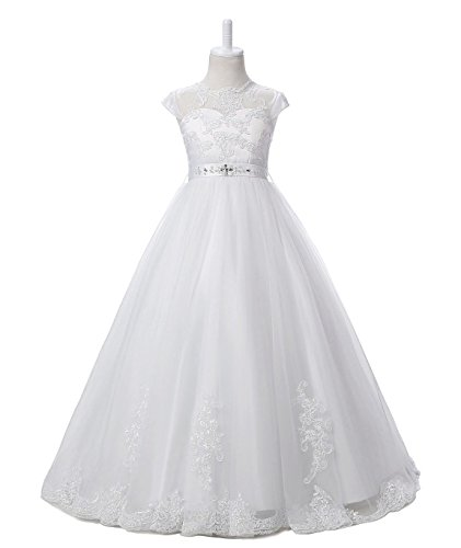 Nina Flower Girls Pageant First Communion Scoop Lace Dress White 6