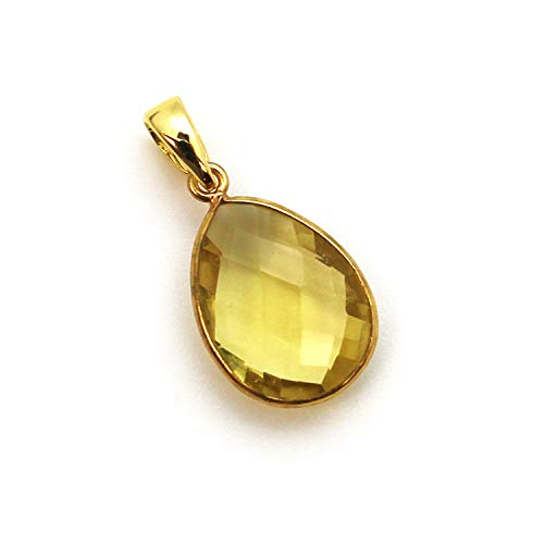 (Bezel Gem Pendant with Bail - Citrine Quartz - 22K Gold plated Vermeil Teardrop Faceted Gemstone Pendant-29mm)