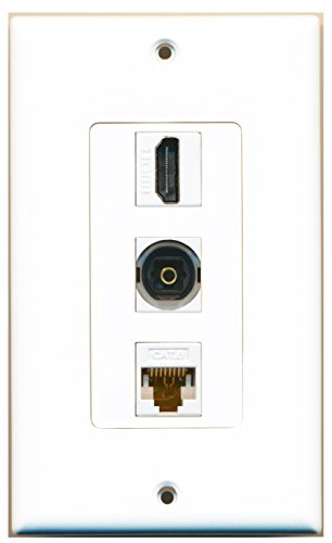 RiteAV - 1 Port HDMI and 1 Port Toslink and 1 Port Cat6 Ethernet White Decorative Wall Plate