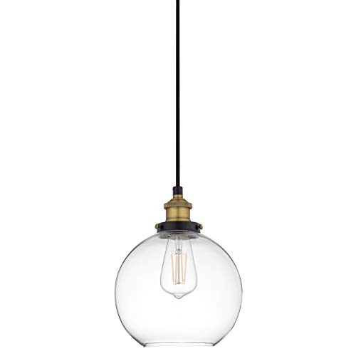 Glass Pendant Light Fixture - Primo LED Industrial Kitchen Pendant Light - Antique Brass Hanging Fixture - Linea di Liara LL-P429-LED-AB