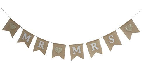 Seasons Treasure 9ft Handmade Mr &Miss Wedding Burlap Banner,Sweet Bunting Banners Wedding Decoration (Wedding Style)