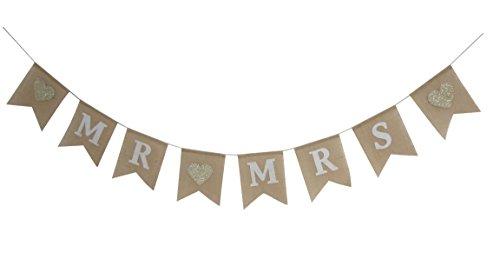 Seasons Treasure 9ft Handmade Mr &Miss Wedding Burlap Banner,Sweet Bunting Banners Wedding Decoration (Wedding Style) -