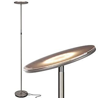 Brightech Sky Flux - The Very Bright LED Torchiere Floor Lamp, for Your Living Room & Office - Halogen Lamp Alternative with 3 Light Options Incl. Daylight - Dimmable Modern Uplight - Nickel