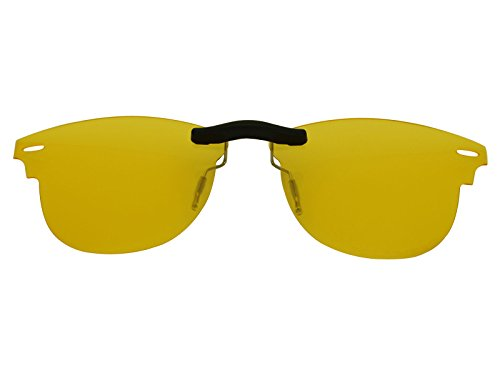 Custom Fit Polarized CLIP-ON Sunglasses For Ray-Ban RB5154 49X21 HD Yellow (Custom Sunglasses Fit)