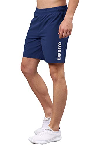 BARKEYO Men Solid Own The Run Sports Shorts Stretchable Blue