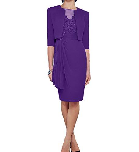 Charmant Damen Royal Lila Abendkleider Blau Langarm Brautmutterkleider Bolero Etuikleider Festlichkleider mit Dunkel OZOr6xq