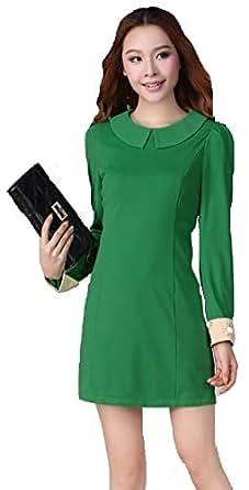 Green Cotton Workwear Dress For Women