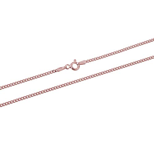 Rose Gold Plated Sterling Silver Thin Cuban Curb Link Chain Necklace 1.8mm 22 inch