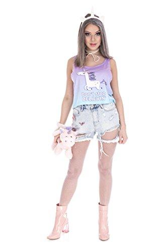 Fringoo - Camiseta sin mangas - Top corto - para mujer Unicorn Don't Stop Believin